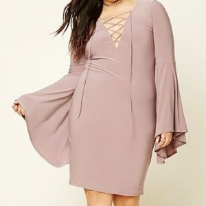 Forever 21+ | Lace Up Bell Sleeve Bodycon Dress